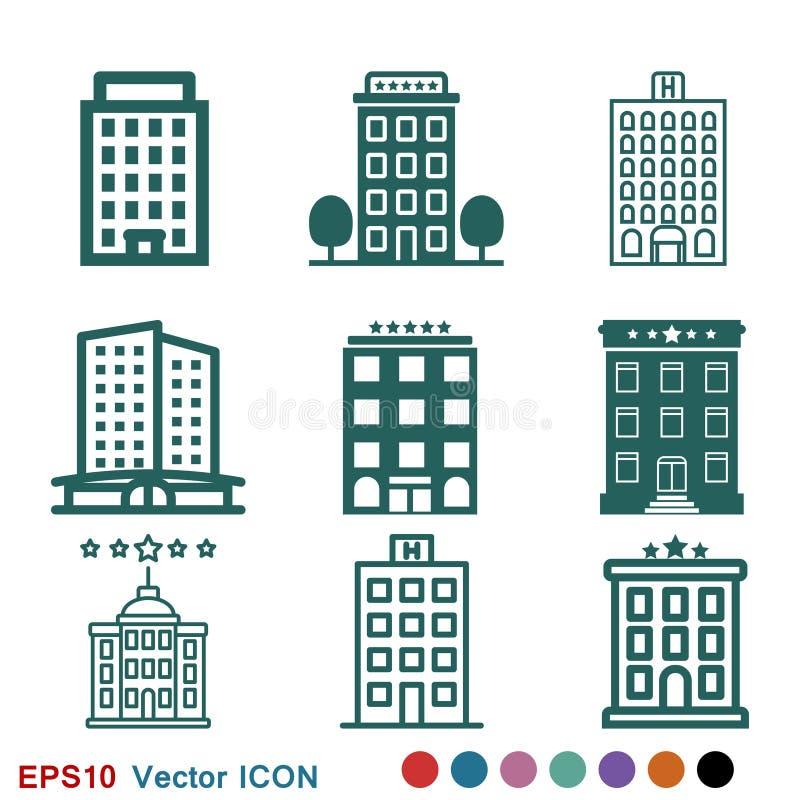 Hotelikonenlogo, Illustration, Vektorzeichensymbol f?r Entwurf stock abbildung