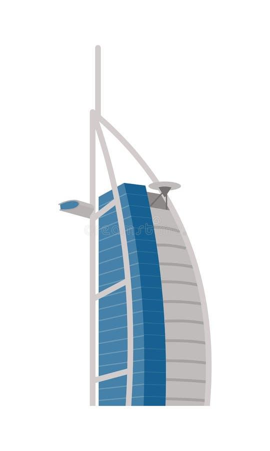Hotell Burj Al Arab i Förenade Arabemiraten Dubai royaltyfri illustrationer
