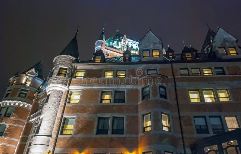 Hotell de Frontenac på natten, Quebec arkivbild