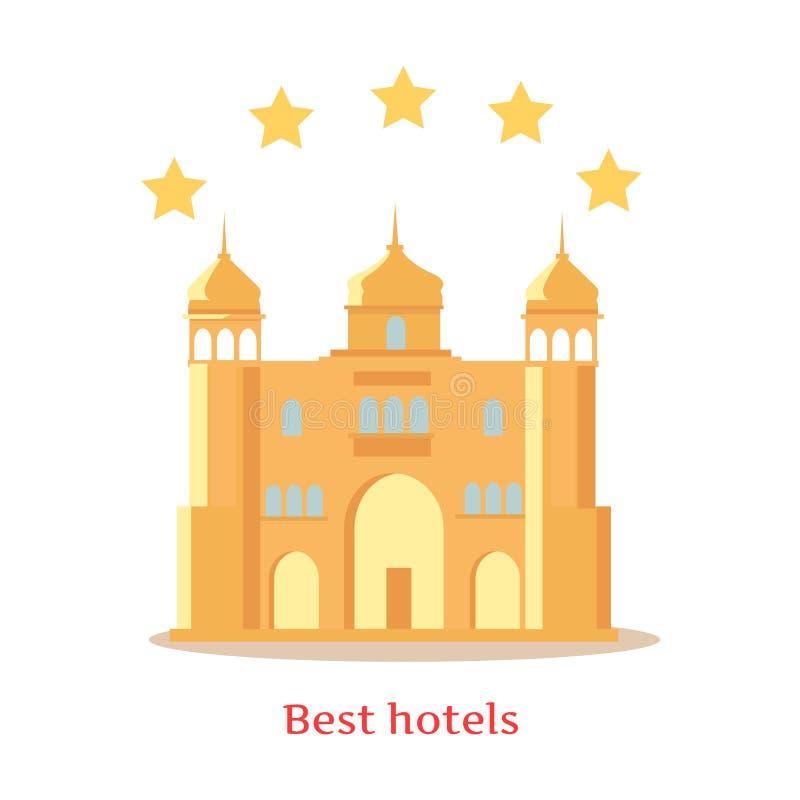 Hotell för bästa begrepp för fem stjärnor indiskt vektor illustrationer