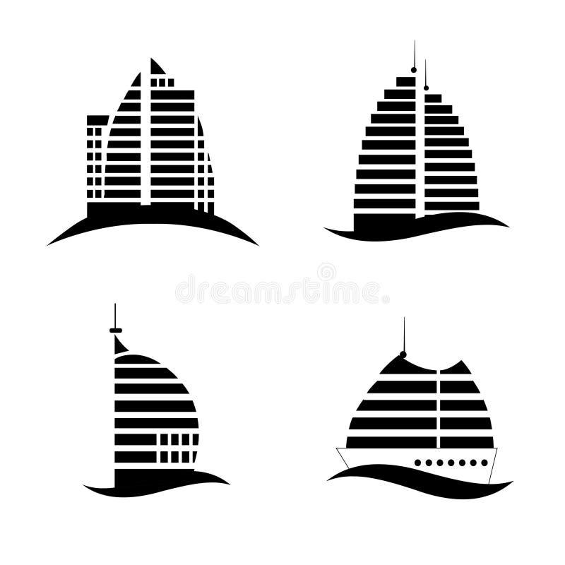 Hotell fastighet, arkitekturlogo stock illustrationer