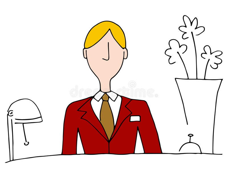 Hotell Front Desk Manager vektor illustrationer