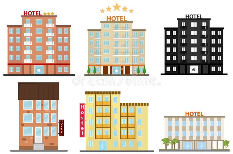 Hotell hotellsymbol, vandrarhem stock illustrationer