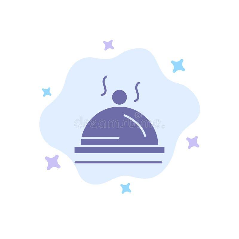 Hotell maträtt, mat, blå symbol för service på abstrakt molnbakgrund royaltyfri illustrationer