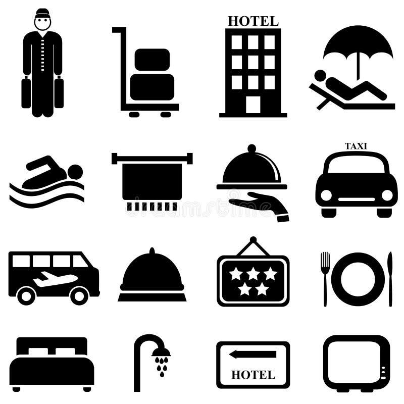 Hotell- och gästfrihetsymboler royaltyfri illustrationer