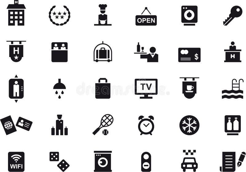 Hotell och loppsymbolsuppsättning stock illustrationer