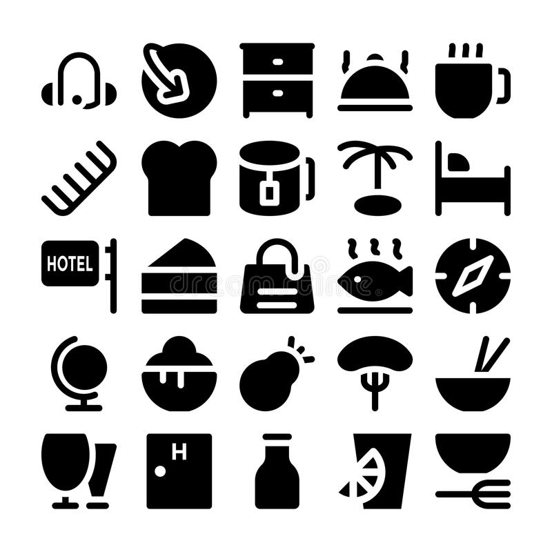 Hotell- och restaurangvektorsymboler 10 vektor illustrationer