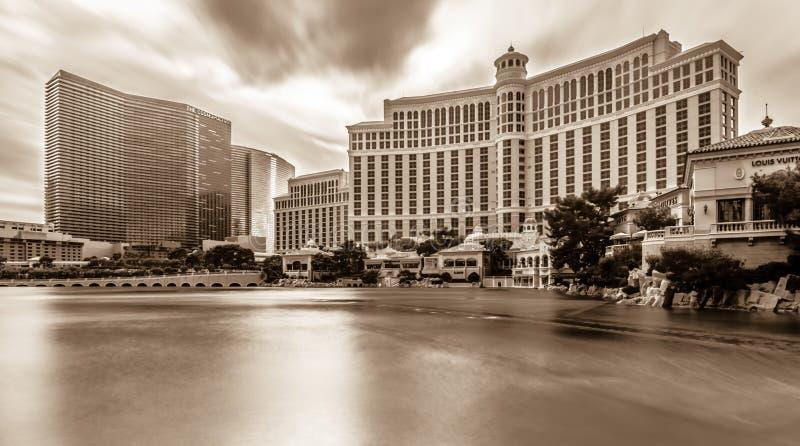 Hotell och stadshorisont i Las Vegas nevada fotografering för bildbyråer