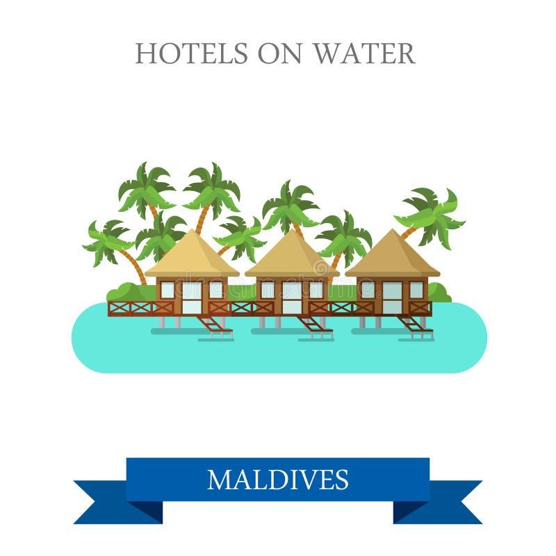 Hotell på den vattenMaldiverna vektorn sänker dragningssight royaltyfri illustrationer