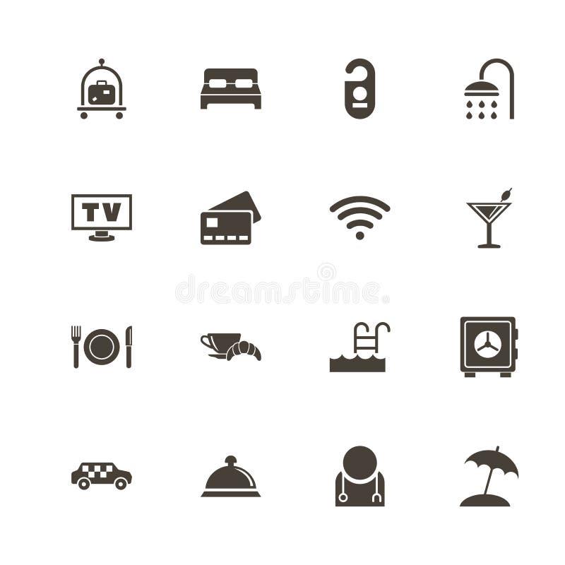 Hotell - plana vektorsymboler royaltyfri illustrationer
