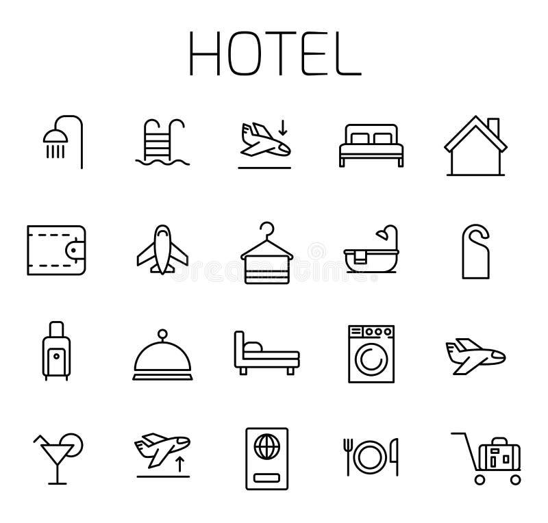 Hotell släkt vektorsymbolsuppsättning stock illustrationer