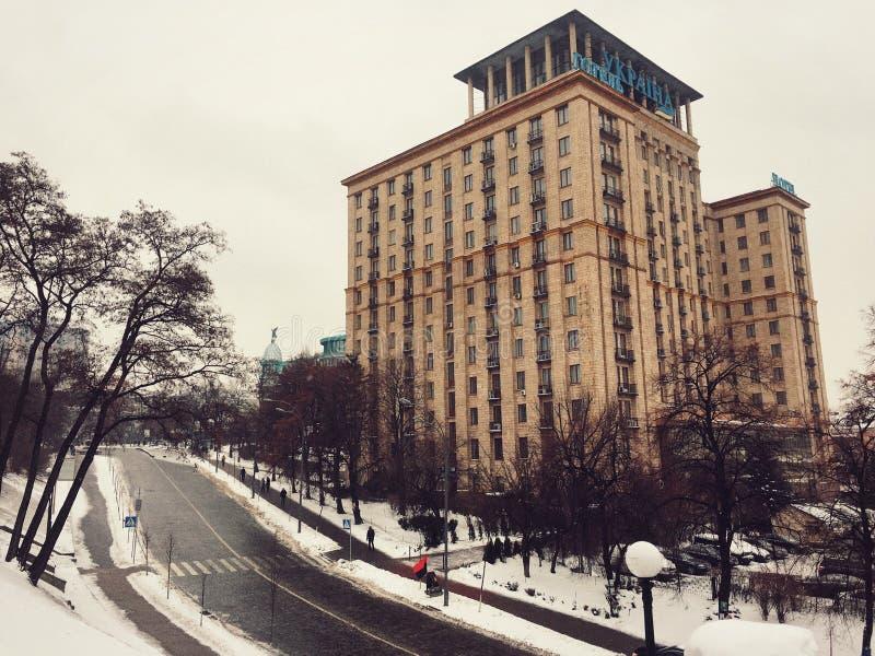Hotell Ukraina, självständighetfyrkant royaltyfria foton