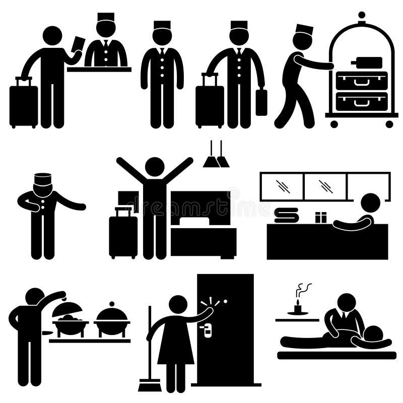 Hotellarbetare och servar pictogramen stock illustrationer