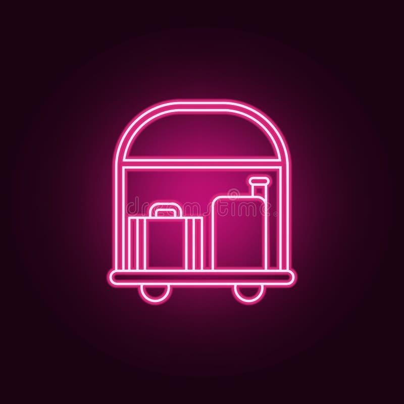 Hotellaufkatze mit Gepäckikone Elemente des Hotels in den Neonartikonen Einfache Ikone für Website, Webdesign, mobiler App, Infor vektor abbildung