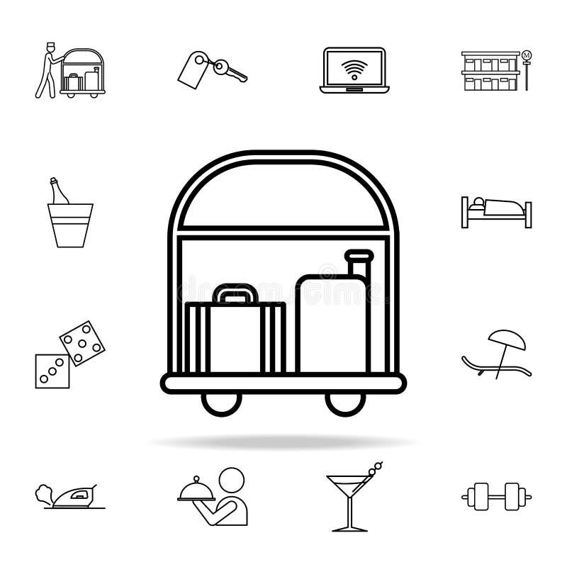 Hotellaufkatze mit Gepäckikone Hotelikonen-Universalsatz für Netz und Mobile vektor abbildung