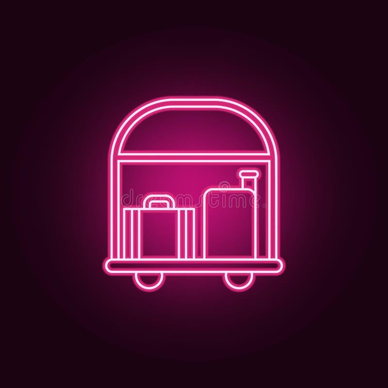 Hotellaufkatze mit Gep?ckikone Elemente des Hotels in den Neonartikonen Einfache Ikone f?r Website, Webdesign, mobiler App, Infor lizenzfreie abbildung