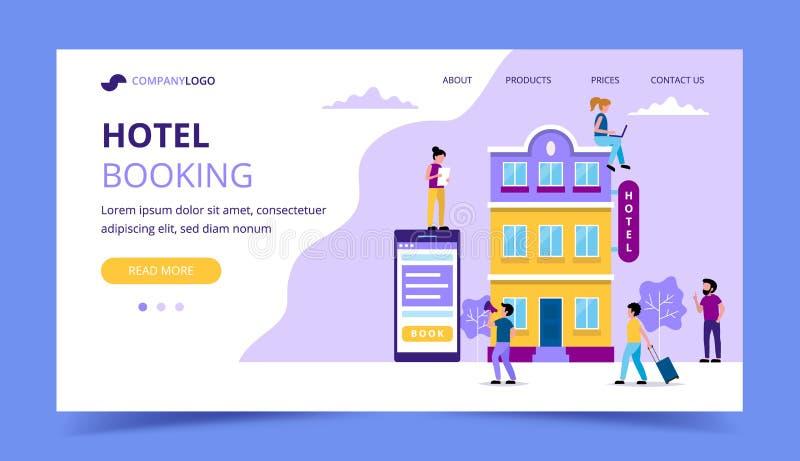 Hotellbokning som landar sidamallen - illustration med litet folk som gör olika uppgifter reservation online-bokning vektor illustrationer