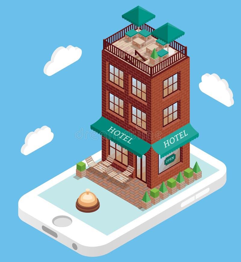 Hotellbyggnad på mobiltelefonskärmen i isometrisk stil för vektor Bokninghotellonline-användande smartphone Illustration in royaltyfri illustrationer