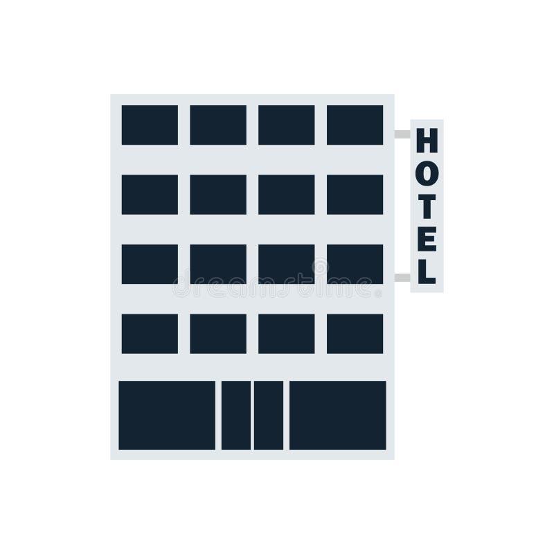 Hotellbyggnadssymbol royaltyfri illustrationer