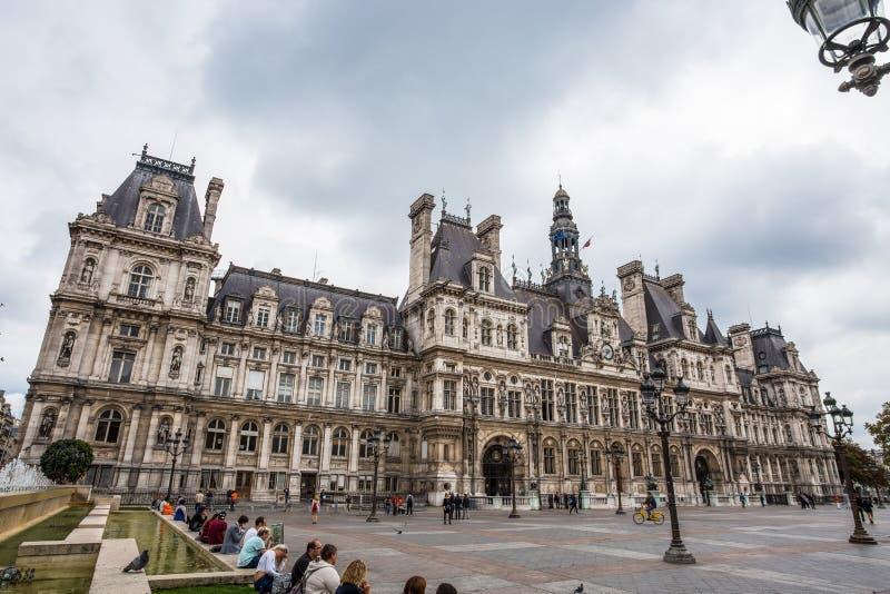 Hotellet de Ville, stadshus av Paris, Frankrike Denna byggnad inhyser staden av administrationen för Paris ` s royaltyfria bilder