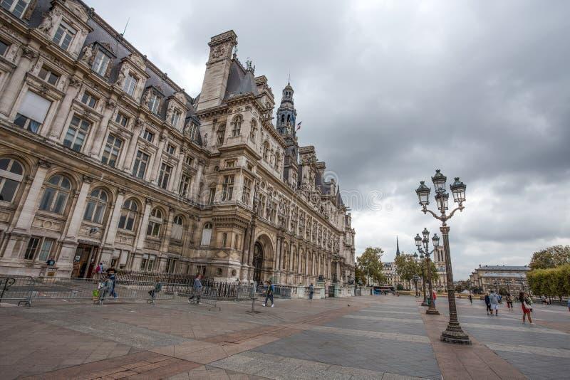 Hotellet de Ville, stadshus av Paris, Frankrike Denna byggnad inhyser staden av administrationen för Paris ` s royaltyfri bild