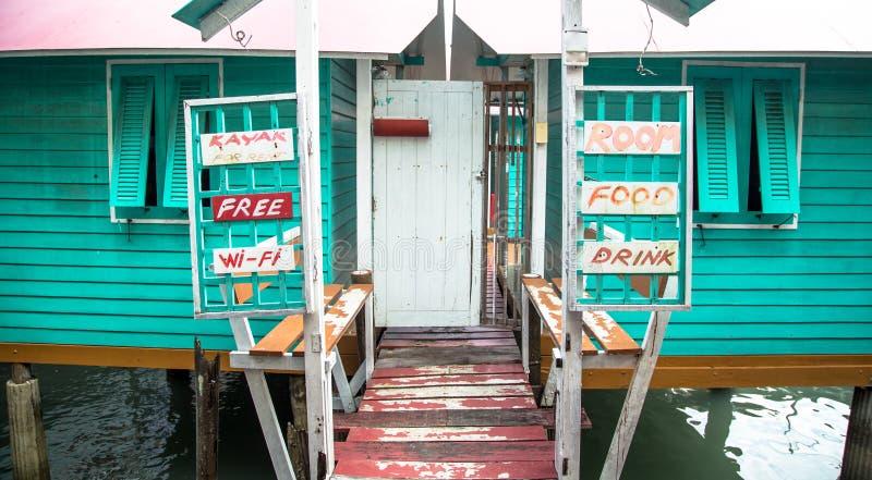 Hotellet på fjärden för fiskare` s, lantlig anstrykning i Thailand, servar hou royaltyfri fotografi