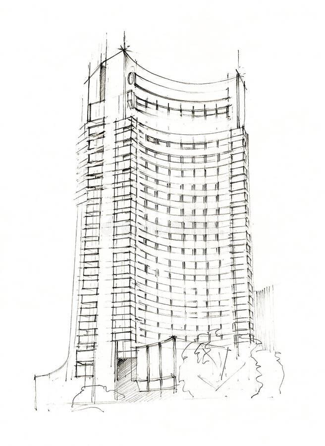 Hotellet skissar royaltyfri illustrationer