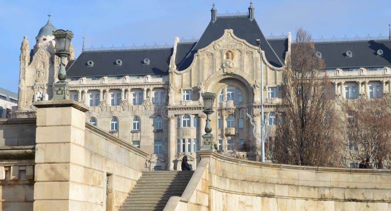 HotellGresham för fyra säsonger slott i Budapest på December 29, 2017 royaltyfria foton
