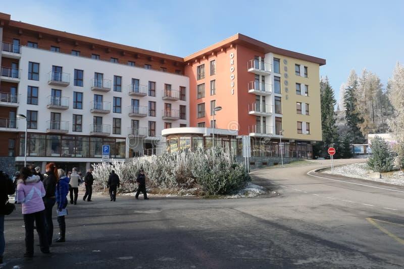 Hotellkrokus på Strbske Pleso arkivfoto
