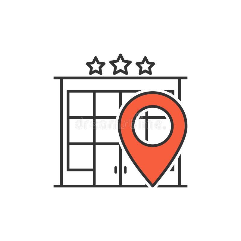 Hotelllägelinje symbol royaltyfri illustrationer