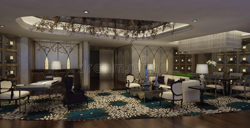 Hotelllobbyinre royaltyfri illustrationer