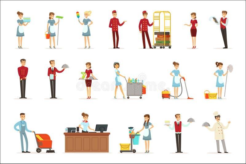 Hotellpersonaluppsättning för etikettdesign Detaljerade illustrationer för färgrik tecknad film stock illustrationer