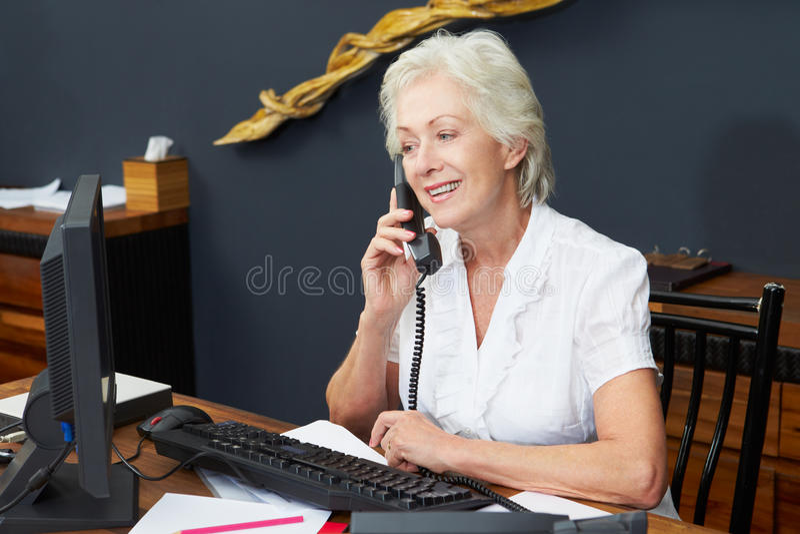 HotellreceptionistUsing Computer And telefon royaltyfria foton