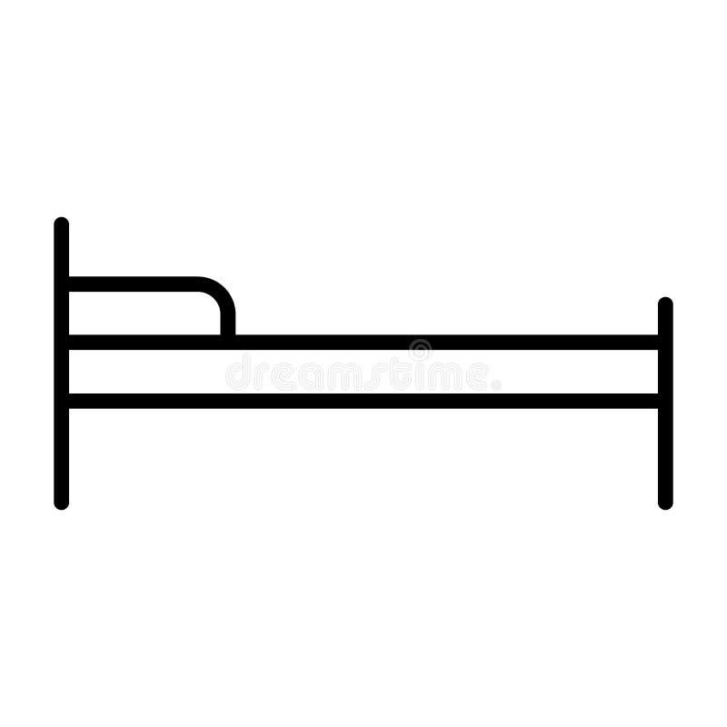 Hotellsänglinje symbol Enkel minsta Pictogram 96x96 för vektor vektor illustrationer