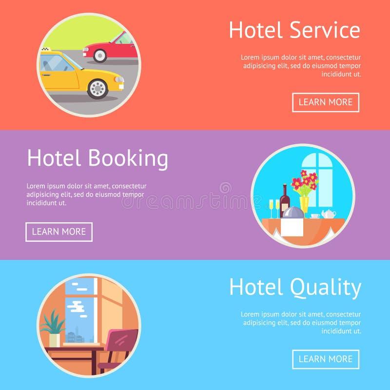 Hotellservice, bokning och kvalitetsVisualization vektor illustrationer