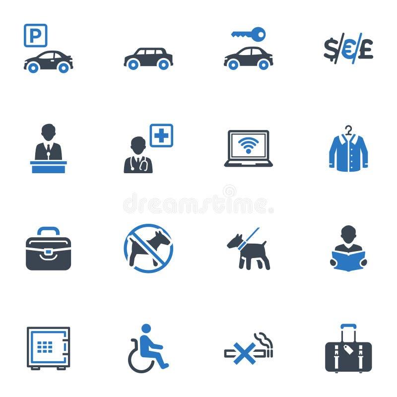 Hotellservice och lätthetssymboler, ställde in 1 - blått  royaltyfri illustrationer
