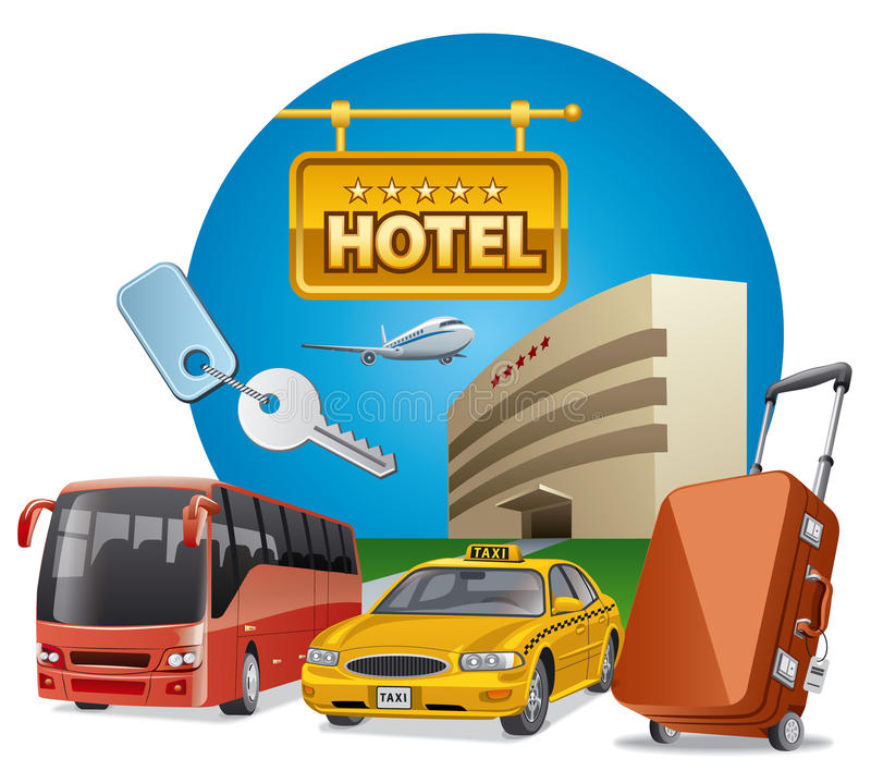 Hotellservice och transport vektor illustrationer