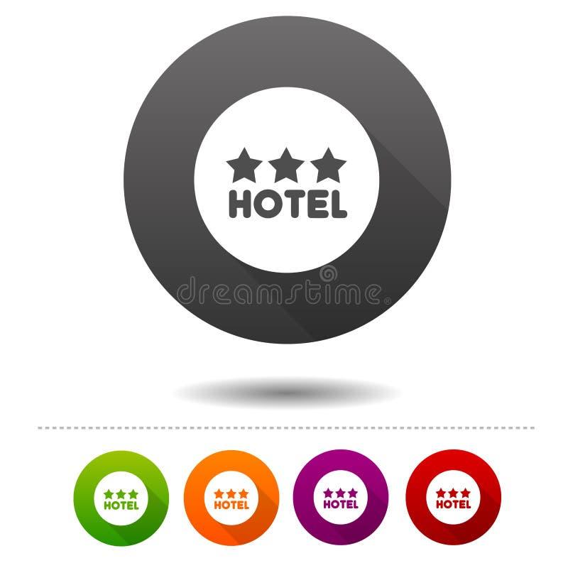 hotellsymbol för tre stjärna Loppsymboltecken Rengöringsdukknapp stock illustrationer