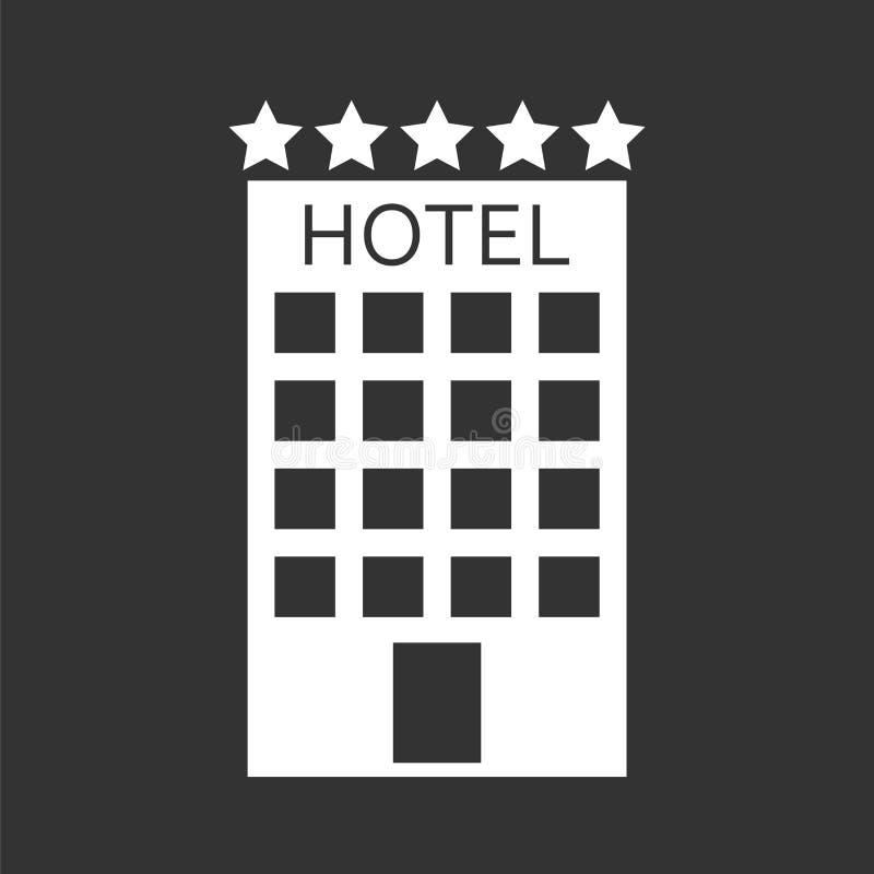 Hotellsymbol som isoleras på svart bakgrund Enkel plan pictogram f royaltyfri illustrationer