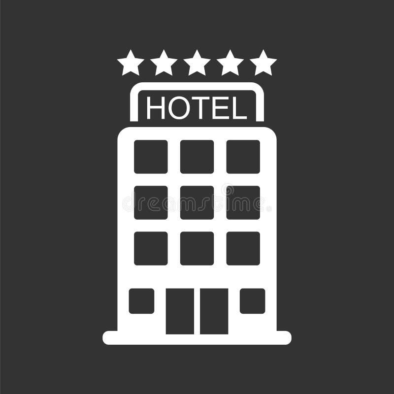 Hotellsymbol som isoleras på svart bakgrund Enkel plan pictogram f stock illustrationer