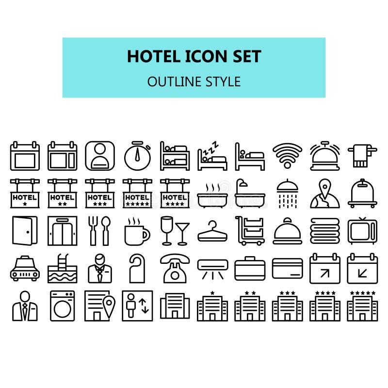 Hotellsymbolen ställde in i PIXEL perfekt Översikt eller linje symbolsstil royaltyfri illustrationer