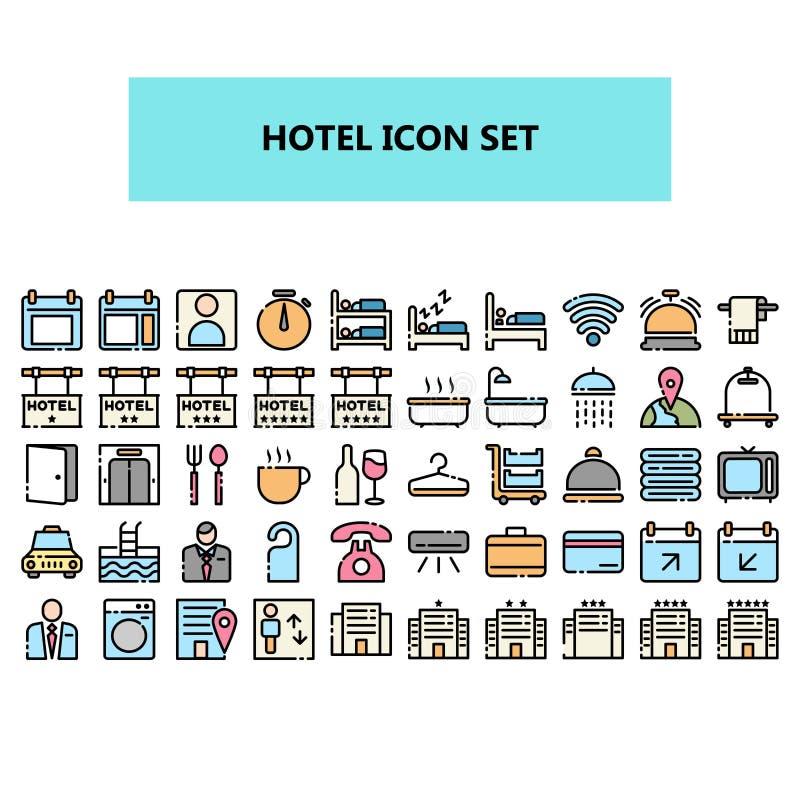Hotellsymbolen ställde in i PIXEL perfekt Fylld översikt royaltyfri illustrationer