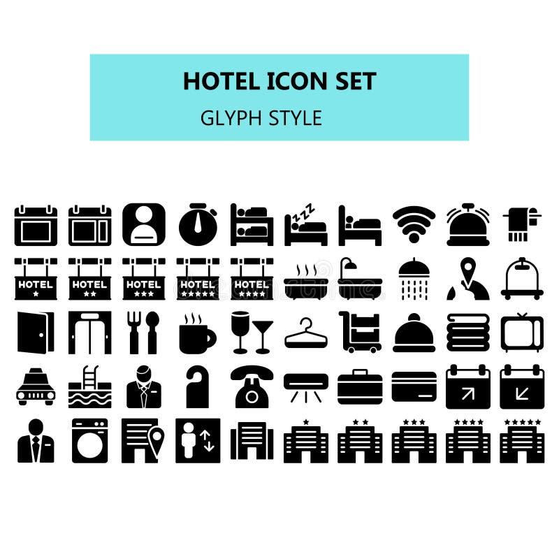 Hotellsymbolen ställde in i PIXEL perfekt Heltäckande- eller skårastil stock illustrationer