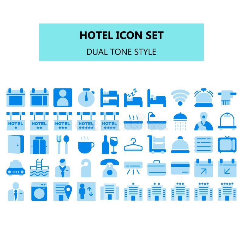 Hotellsymbolen ställde in i PIXEL perfekt Plan dubbelstil för symboler för signalfärg vektor illustrationer