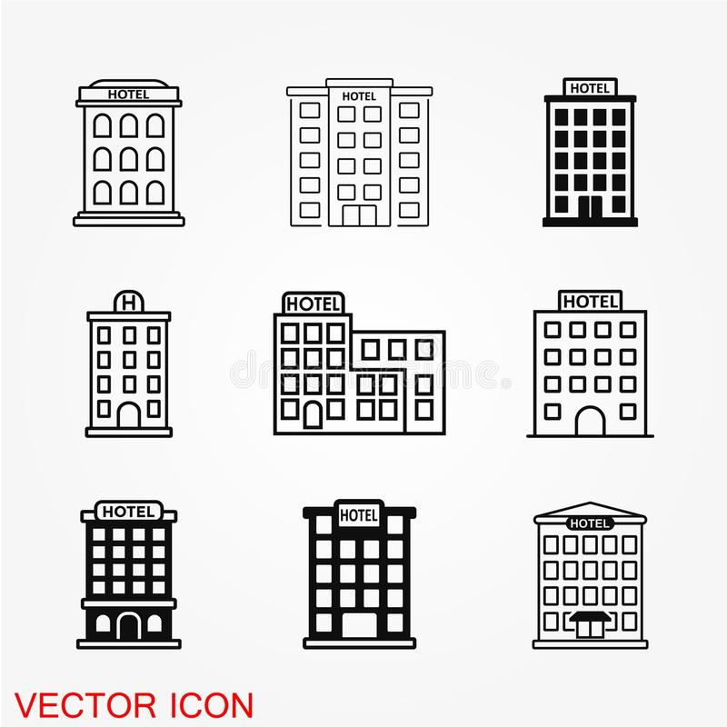 Hotellsymbolsvektor vektor illustrationer