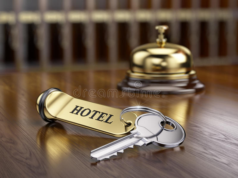 Hotelltangent- och mottagandeklocka stock illustrationer