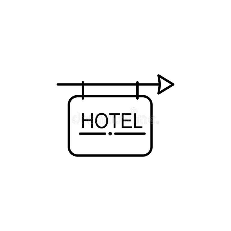 Hotellteckensymbol Beståndsdel av den enkla symbolen för websites, rengöringsdukdesign, mobil app, informationsdiagram Tunn linje stock illustrationer