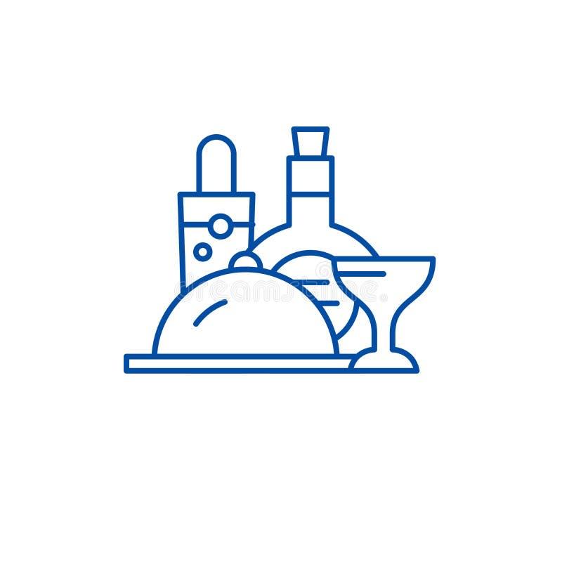 Hotelmenülinie Ikonenkonzept Flaches Vektorsymbol des Hotelmenüs, Zeichen, Entwurfsillustration vektor abbildung