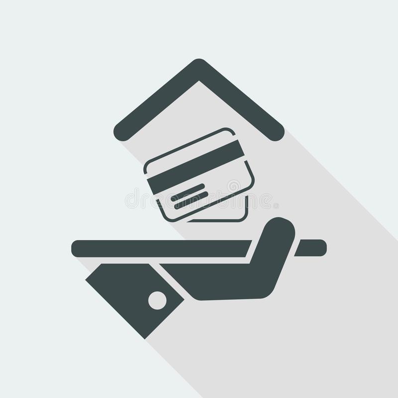 Hotelowa ikona Kredytowe karty akceptować royalty ilustracja