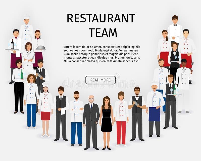 Hotelowa restauraci drużyna Grupa catering usługa charaktery stoi w mundurze Gastronomii strony internetowej pięcioliniowy sztand ilustracja wektor